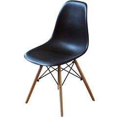Cadeira Polipropileno com Pés de Madeira 82x47cm Preta - Importado