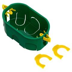 """Caixa de Luz Oval de Embutir em Pvc Dryfix Eletroduto 4x2"""" Verde - Tigre"""