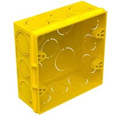 """Caixa de Luz Quadrada em Pvc Flex 4x4"""" Amarela - Tigre"""