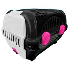 Caixa de Transporte para Pets Luxo 28,5x30cm Preta E Rosa - Furacão Pet
