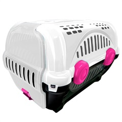 Caixa de Transporte para Pets Luxo 40x36,5cm Branca E Rosa - Furacão Pet
