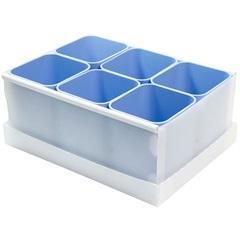 Caixa Organizadora com 6 Porta Objetos Protêa 10,2x24cm Azul - Dello