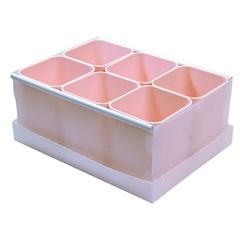 Caixa Organizadora com 6 Porta Objetos Protêa 10,2x24cm Rosa - Dello