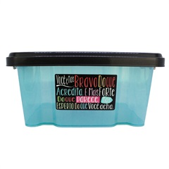 Caixa Organizadora com Tampa 12 Litros Plástico Preto E Azul - Casanova