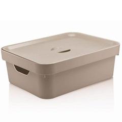 Caixa Organizadora com Tampa Cube 10,5 Litros Bege - Martiplast