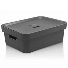 Caixa Organizadora com Tampa Cube 10,5 Litros Chumbo - Martiplast