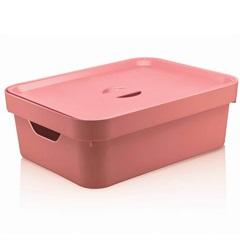 Caixa Organizadora com Tampa Cube 10,5 Litros Rosa Quartz - Martiplast