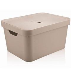 Caixa Organizadora com Tampa Cube 18 Litros Bege - Martiplast