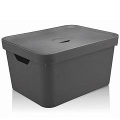 Caixa Organizadora com Tampa Cube 18 Litros Chumbo - Martiplast