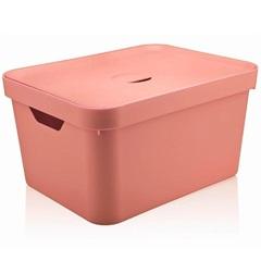 Caixa Organizadora com Tampa Cube 18 Litros Rosa Quartz - Martiplast