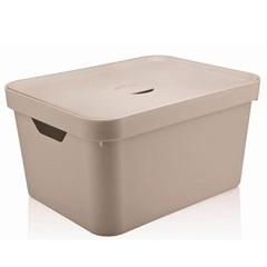 Caixa Organizadora com Tampa Cube 32 Litros Bege - Martiplast