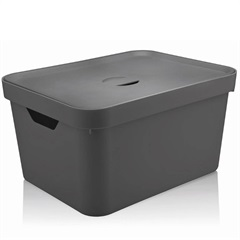 Caixa Organizadora com Tampa Cube 32 Litros Chumbo - Martiplast