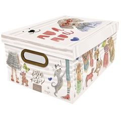Caixa Organizadora com Tampa Filhos de Pelos Cachorros 18,5x38cm - Dello