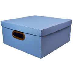 Caixa Organizadora com Tampa Linho Azul 16x35cm - Dello
