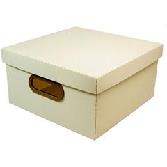 Caixa Organizadora com Tampa Linho Cinza 15x29cm - Dello