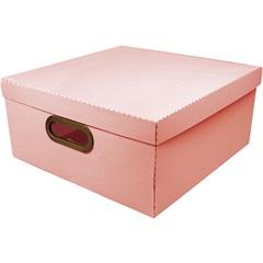 Caixa Organizadora com Tampa Linho Coral 16x35cm - Dello
