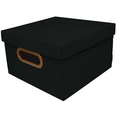 Caixa Organizadora com Tampa Linho Preta 15x25cm - Dello