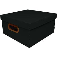 Caixa Organizadora com Tampa Linho Preta 15x29cm - Dello