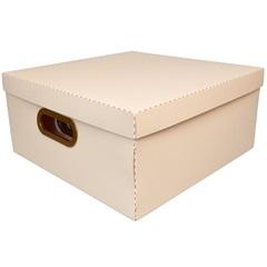 Caixa Organizadora com Tampa Linho Rosa 16x35cm - Dello