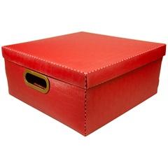 Caixa Organizadora com Tampa Linho Vermelha 16x35cm - Dello