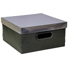 Caixa Organizadora com Tampa Preta 15x29cm - Dello