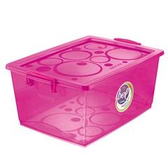 Caixa Organizadora com Trava Bel Pink 30 Litros - Ordene