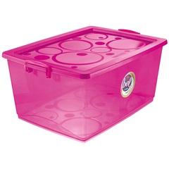 Caixa Organizadora com Trava Bel Pink 60 Litros - Ordene