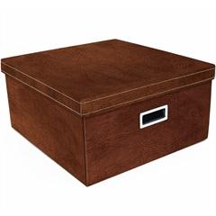 Caixa Organizadora Couro 40x40cm Marrom - Boxgraphia