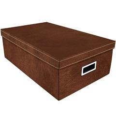 Caixa Organizadora Couro 50x31cm Marrom - Boxgraphia