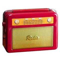 Caixa Organizadora Decorativa em Metal Rádio 27x19,5x11cm Vermelho - Casa Etna