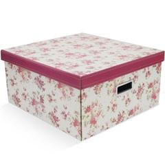 Caixa Organizadora Floral 40x40cm Vermelha - Boxgraphia