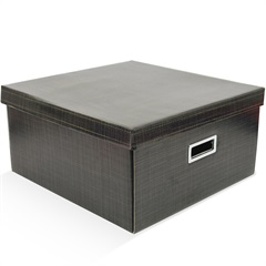 Caixa Organizadora Linho 40x40cm Preta - Boxgraphia