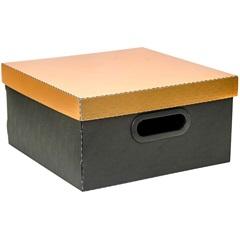 Caixa Organizadora Preta com Tampa Dourada 15x29cm - Dello