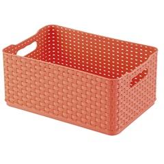 Caixa Organizadora Rattan 1,74 Litro Salmão - Arthi