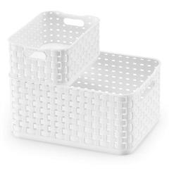Caixa Organizadora Rattan com 4,5 L Litros Branca - Arthi