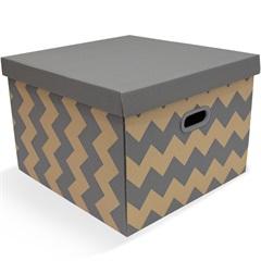 Caixa Organizadora Storage Decor 43x41cm Cinza - Boxgraphia