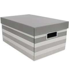 Caixa Organizadora Stripes 36x25cm Cinza - Boxgraphia