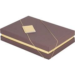 Caixa para Presente Marrom E Dourado 24,5x18,5x5cm - Paloni