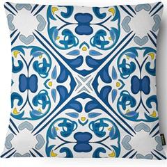 Capa para Almofada em Linho Garden 43x43cm Azul E Branca - Casanova