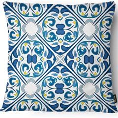 Capa para Almofada em Linho Garden Azulejo 43x43cm Azul E Branca - Casanova