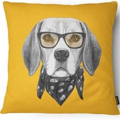 Capa para Almofada em Microfibra Pet Beagle 43x43cm Amarela - Casanova