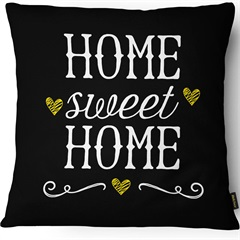 Capa para Almofada em Sarja Colors Home Sweet Home 43x43cm Preta