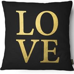 Capa para Almofada em Sarja Foil Love 43x43cm Dourada E Preta - Casanova