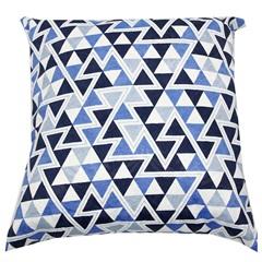 Capa para Almofada Triângulos 43x43cm Azul - Próxima Têxtil