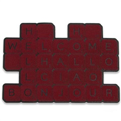 Capacho em Borracha Dalian Crosswords 69x48cm Vinho - Casa Etna