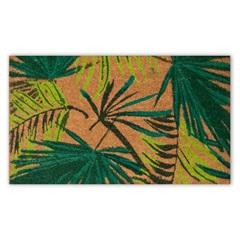 Capacho em Fibra de Coco Folhas 45x75cm Marrom E Verde - Casanova