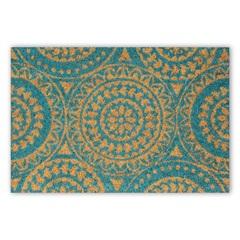 Capacho em Fibra de Coco Mandalas 40x60cm Azul - Casanova