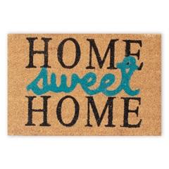 Capacho em Fibra de Coco Sweet Home 40x60cm Preto E Azul - Casanova