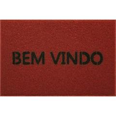 Capacho em Pvc Vinil Bem Vindo 40x60cm Vermelho - Kapazi