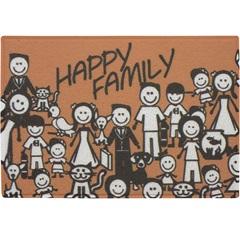 Capacho em Pvc Vinil Happy Family 60x40cm Laranja - Kapazi